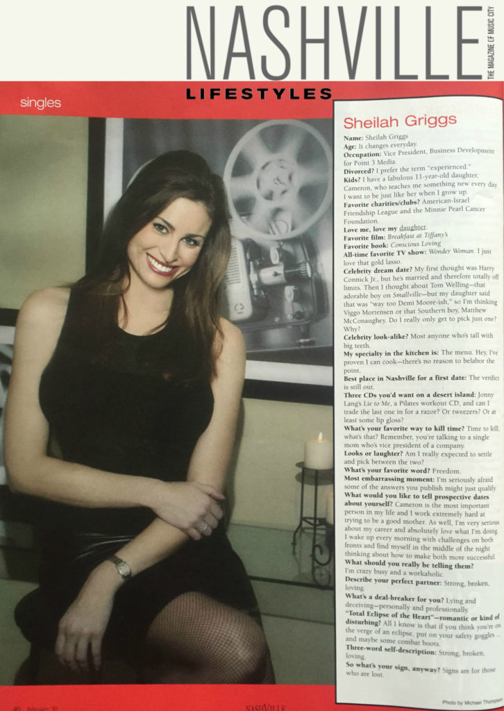 Nashville Lifestyles Article Sheilah Griggs Single In The City